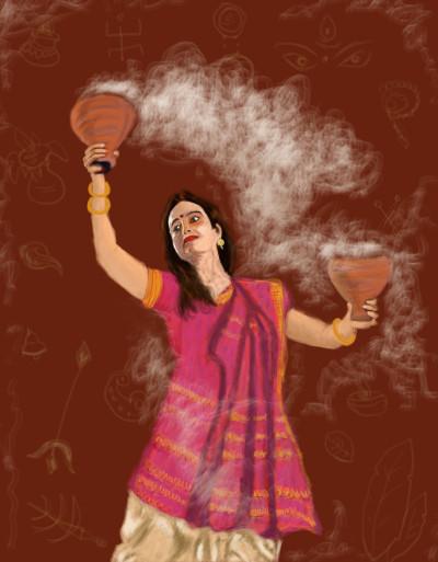 Dhunuchi Dance ( Durga Puja Festivals) | S.Acharya | Digital Drawing | PENUP