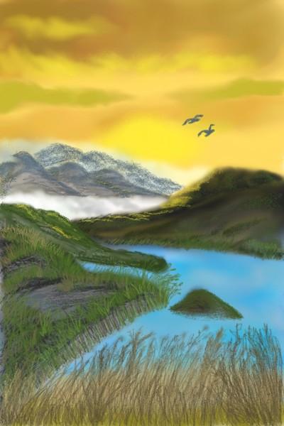 Golden Sky & Turquoise Waters | TeeSunflower | Digital Drawing | PENUP