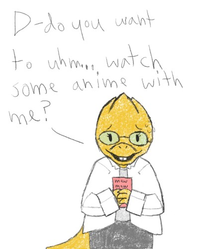 Alphys looooves her anime!    inky   Digital Drawing   PENUP