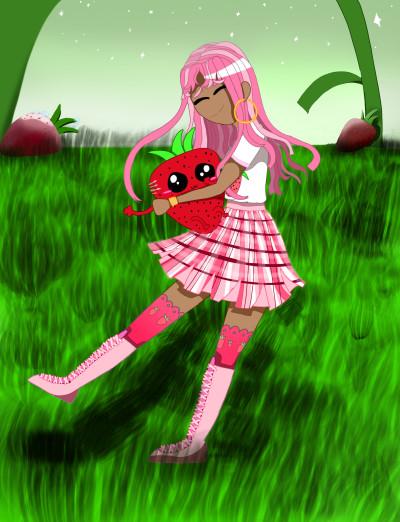 Kawaii Strawberry girl ♡    Clio_IceCream   Digital Drawing   PENUP