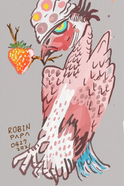 Eagle & Strawberry | RobinPAPA | Digital Drawing | PENUP