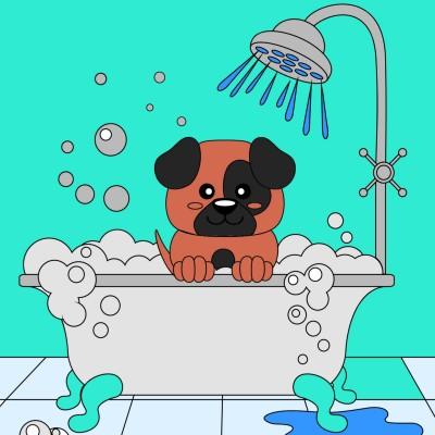 Doggy having a bath | A.K.G_INDIA | Digital Drawing | PENUP