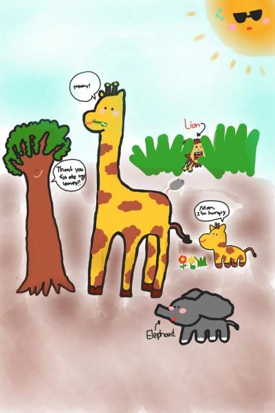 기린, 코끼리,그리고 사자   Joy   Digital Drawing   PENUP