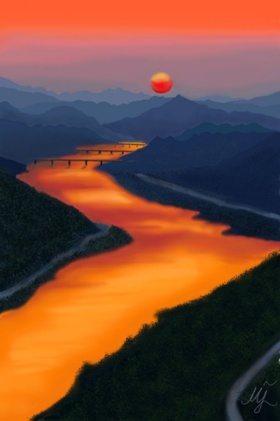 River at sunset | mjalkan | Digital Drawing | PENUP