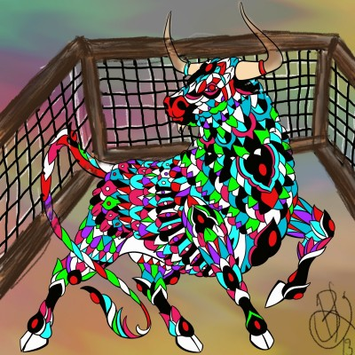 Miscolored Fenced Bull | BeanaKing13 | Digital Drawing | PENUP