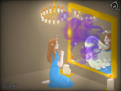 초와 소원비는 여자 Candles and a Wishing Woman | PupleCat | Digital Drawing | PENUP
