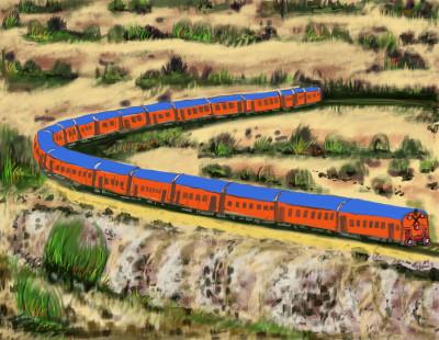 Trains in Desert.... | S.Acharya | Digital Drawing | PENUP