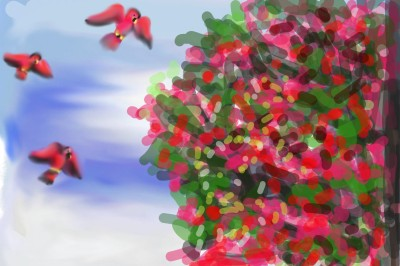 red birds and cotton candy bushes | bluehippo | Digital Drawing | PENUP