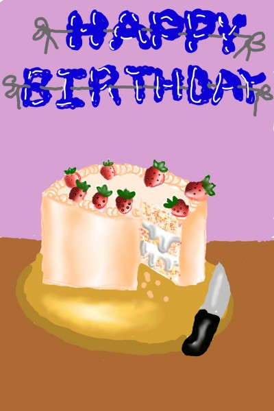 It's BDAY of strawberry cake By nine years me   Mayeesha_Mehry   Digital Drawing   PENUP