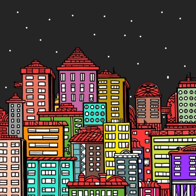 A busy city under a starry night | A.K.G_INDIA | Digital Drawing | PENUP