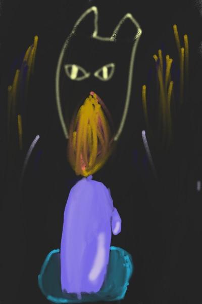흔들리는 촛불과 검은 고양이 | Crys | Digital Drawing | PENUP