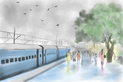 Railway station-where the journey starts  | Sylvia | Digital Drawing | PENUP