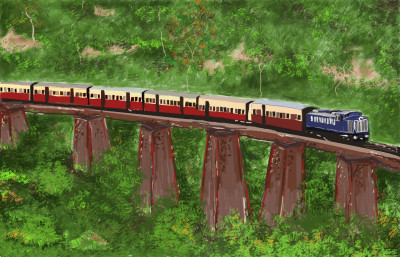 Train Running Over A Bridge..... | S.Acharya | Digital Drawing | PENUP