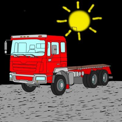 Big Red Truck Waiting For A Load | Bekkie | Digital Drawing | PENUP