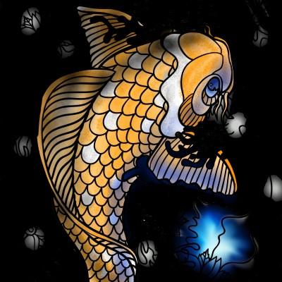Fish under light | Dragon_Halfling | Digital Drawing | PENUP