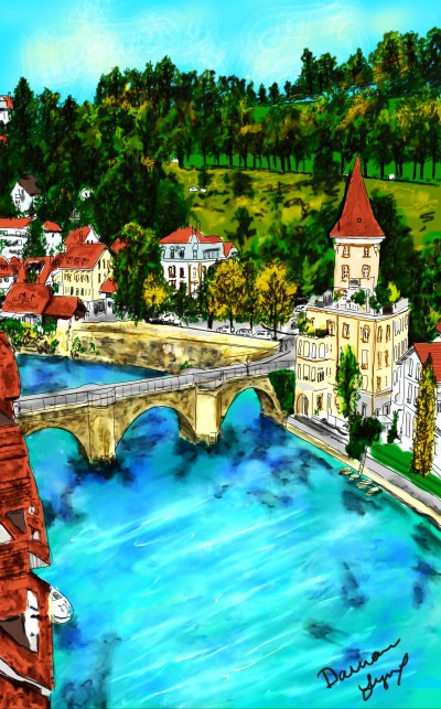 Village by a River | missdarrian | Digital Drawing | PENUP