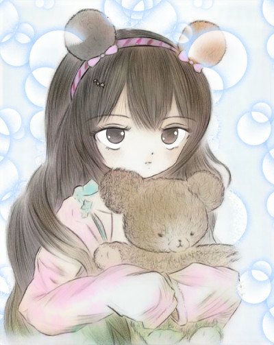 Little girl and teddy bear | Sweety | Digital Drawing | PENUP