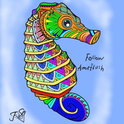 colorful sea horse    Amirflash   Digital Drawing   PENUP