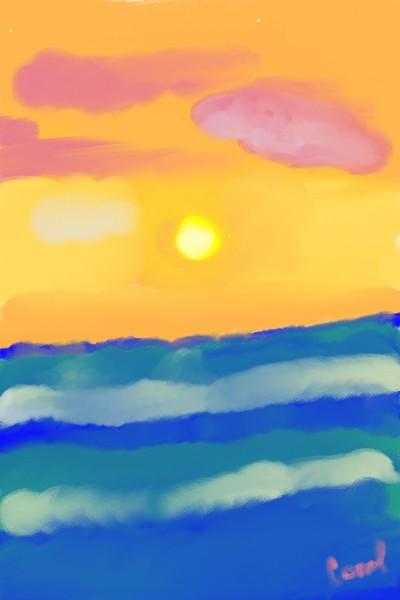 Sunset Ocean | Coral | Digital Drawing | PENUP