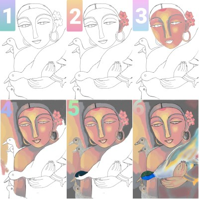 Drawing tutorial step-by-step    _H.A.P.P.I.E.E_   Digital Drawing   PENUP