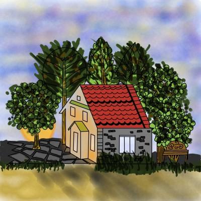 sunset cottage  | Dan | Digital Drawing | PENUP