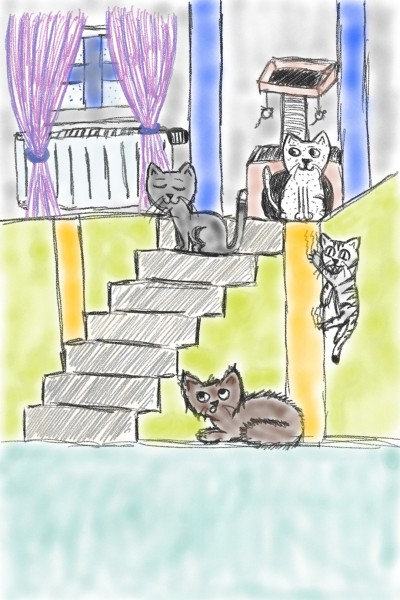 Cats and Stairs   Calligar   Digital Drawing   PENUP