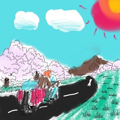 봄 날 뛰어가는 오토바이 | bunny | Digital Drawing | PENUP