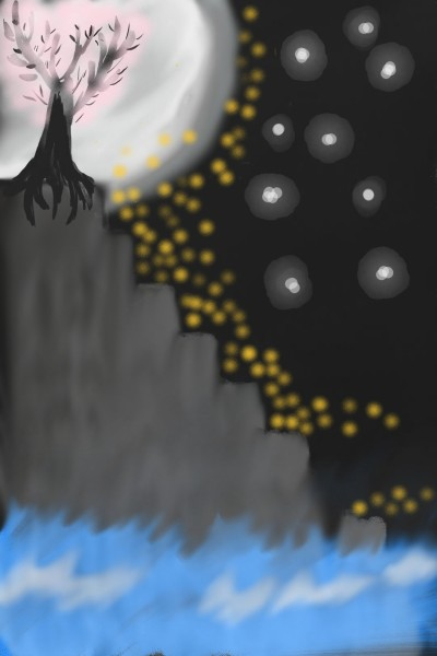 sakura in the moon | QReed | Digital Drawing | PENUP