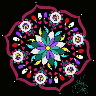Purple & Green Flower Mandala  | BeanaKing13 | Digital Drawing | PENUP