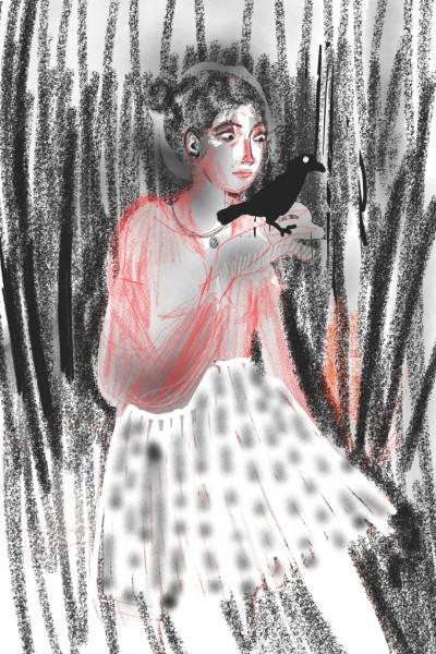 Girl with raven   molakinowa   Digital Drawing   PENUP