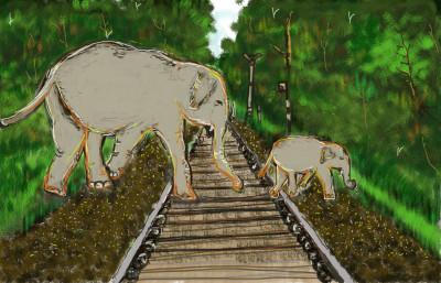 Elephants crossing railway track.......   S.Acharya   Digital Drawing   PENUP