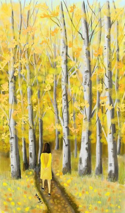 Birch forest(자작나무 숲) | ch0ea | Digital Drawing | PENUP