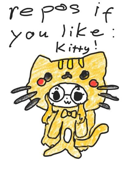 repost if you like kitty!   pinkdino   Digital Drawing   PENUP