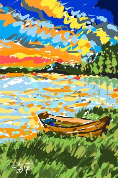 Sunset over river bend | hoipeng | Digital Drawing | PENUP