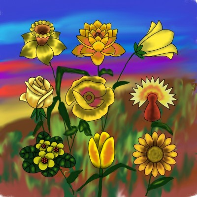 Yellow Wild Flowers | missdarrian | Digital Drawing | PENUP