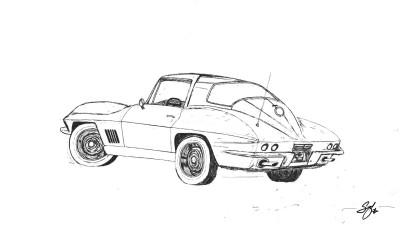 1967 Chevrolet Corvette Stingray | snow | Digital Drawing | PENUP