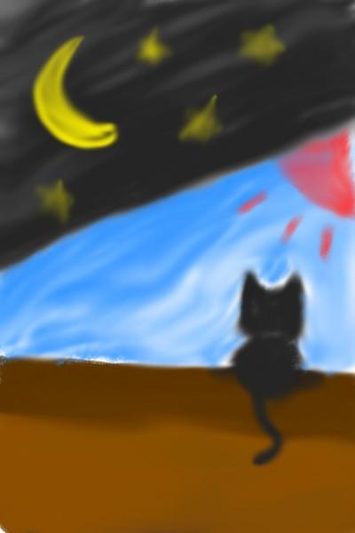 밤,낮 | cut_cat | Digital Drawing | PENUP